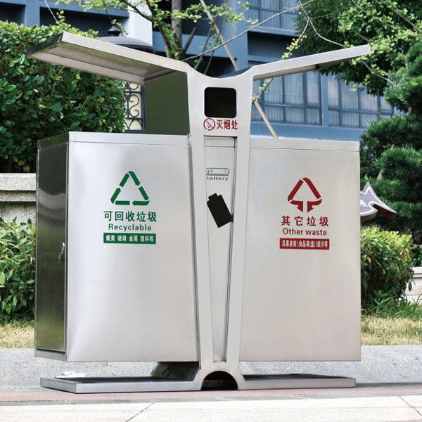 户外回收分类不锈钢垃圾箱LC-DZ001