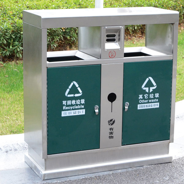 户外不锈钢垃圾箱LC-BXG401A