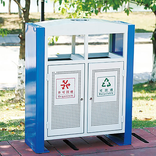马路街边垃圾箱(镀锌冲孔)LC-DX402B