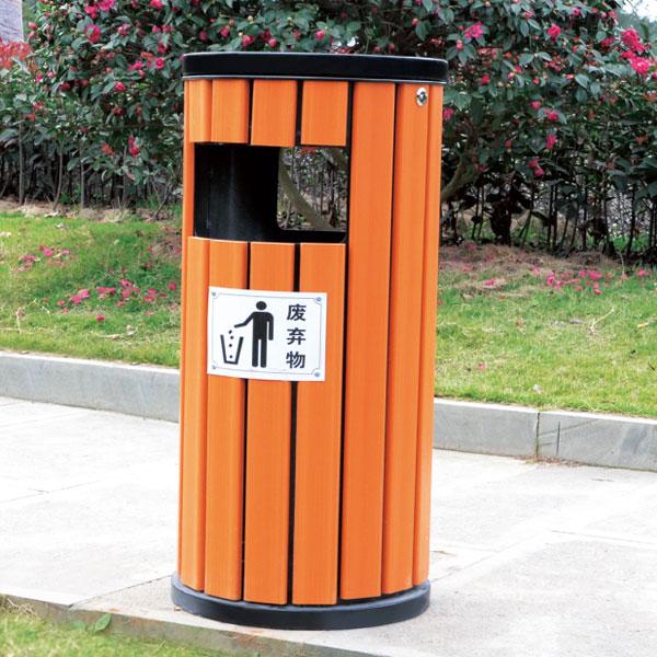 琥珀红圆筒防腐木垃圾桶LC-GM203