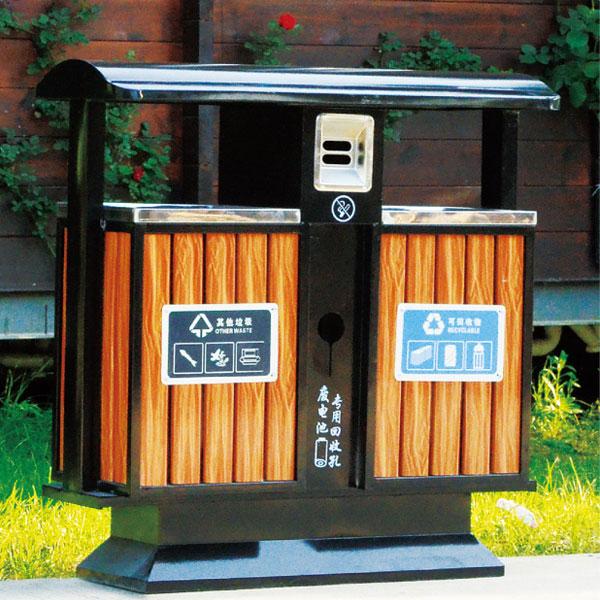 户外豪华款钢木垃圾桶(木纹黄)LC-GM401C