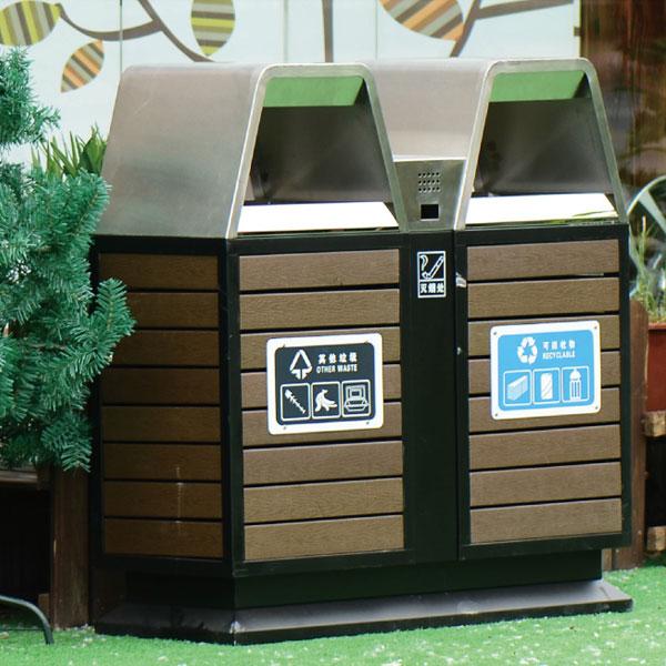 户外防腐木垃圾箱豪华版LC-GMS001