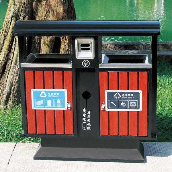 户外豪华款钢木垃圾桶(琥珀红)LC-GM401A