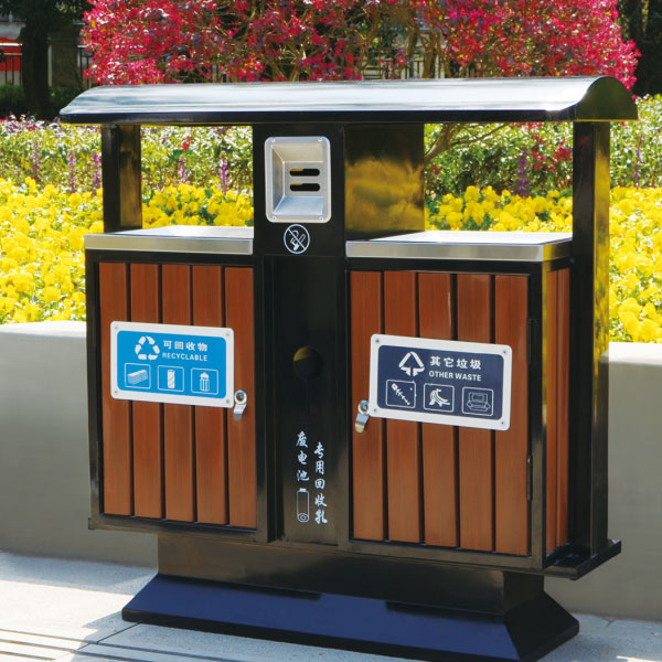 户外豪华款钢木垃圾桶(紫檀棕)LC-BGM401B