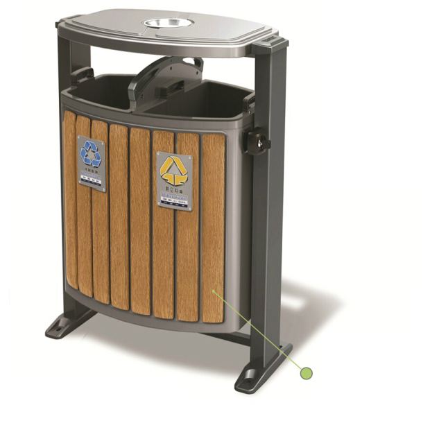 深桶防腐木垃圾箱LC-GM102