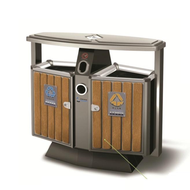 防腐木垃圾箱LC-GM101